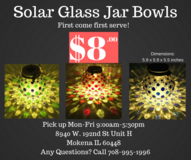 Solar Glass Jar Bowls Makeup Wand Holder Decoration Desk Deck Garden Lamp Flower Bed in Tinley Park, Illinois
