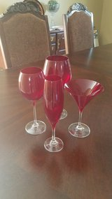 Crate and Barrel red glasses in New Lenox, Illinois