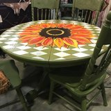 Oak Table with 4 chairs Painted olive green with sunflower farmhouse sunroom entryway in Fort Leonard Wood, Missouri