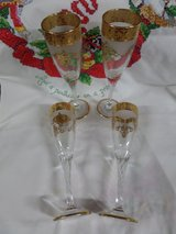 Crystal clear frosted Champagne flutes, 24K Gold Rimmed Trim in Alamogordo, New Mexico