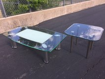 Modern glass coffee table and end table in Yorkville, Illinois