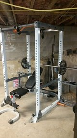Full power rack, Multi position bench with leg and preacher curl, 365lbs+ & many accessories and... in Quantico, Virginia