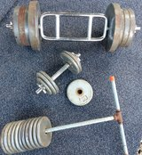 200 lbs iron free weights + tricep bar & dumbbell in Alamogordo, New Mexico