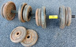 90 lbs iron free weights + 2 dumbbells. in Alamogordo, New Mexico
