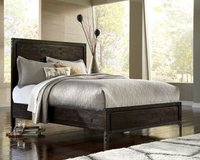 BRAND NEW! HEAVY DISTRESSED WOOD QUEEN BEDFRAME BY M. INTERNATIONAL in Camp Pendleton, California