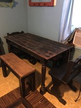 "Small farm table 53""long 27""wide 20"" tall. 2 benches 20""tall 33""long11""wide. 2chairs in Cleveland, Texas"