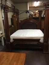 Solid wood king size bed with mattress in Cherry Point, North Carolina