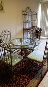 Glass Table and 4 chairs, bakers rack in Joliet, Illinois