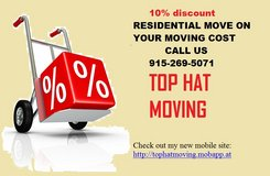 TOP HAT MOVING-915-269-5071 in Fort Bliss, Texas