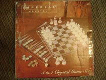 Imperial Crystal 3 in 1 Game Set Chess/Checkers/Backgammon. New and Unused. in DeRidder, Louisiana
