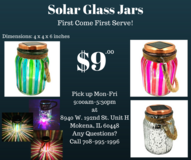 Solar Glass Jars for Garden Home Decoration Party Office Desk Porch Patio Deck in Kankakee, Illinois