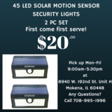 45LED Solar Motion Sensor Lights 2pc Set for Camping Outdoors Nature in Tinley Park, Illinois
