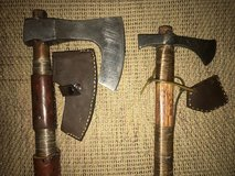Custom made Damascus bearded hewing axe and camping axe in Roseville, California
