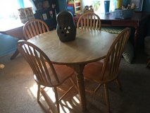 "Table 6 chairs oval 54""long without leave 43""wide has a few marker spots on top in Conroe, Texas"