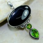 New - Large Black Botswana Agate and Peridot Pendant (Includes a chain) in Alamogordo, New Mexico