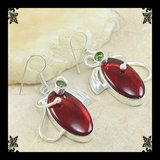 New - Large Red Carnelian and Green Peridot Earrings in Alamogordo, New Mexico