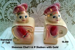 New $$$! Shawnee CHEF Salt & Pepper Shakers with Gold in DeKalb, Illinois