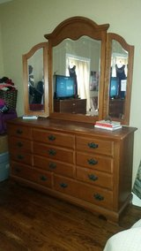 Beautiful 8drawer dresser with 3 paned mirror in Clarksville, Tennessee