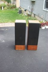 "PAIR OF WOOD SPEAKER CABINETS WITH 8"" SPEAKERS. in Naperville, Illinois"