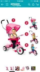 Pink toddler bike in Schaumburg, Illinois