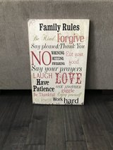 Wooden family rules sign in Oswego, New York