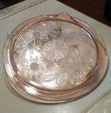 Pink Depression Glass Footed Cake Plate in New Lenox, Illinois