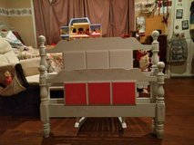 WHITE TWIN BED- has side rails & slates. Can paint 3 blocks on Headbord pink also. Or paint al... in Hopkinsville, Kentucky