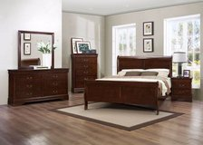 New King Size 5 piece Cherry Sleigh Bed, still in Boxes in Wilmington, North Carolina