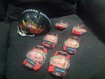 Toddler Boys Disney McQueen Cars Helmet Lot Bicycle in Fort Campbell, Kentucky