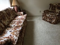 Sofa and Matching Chair Set: Plush Ivory with Woodland Scenes: EUC in Cherry Point, North Carolina