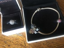 Pandora bracelet with 5 charms! in Joliet, Illinois