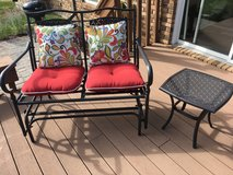 Glider, Two tables, pillows and cushions in Morris, Illinois