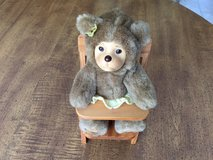 Robert Raikes Bear in High Chair: Posable Limbs,Wooden Face, 1990 with Tush Tag JUST REDUCED in Cherry Point, North Carolina