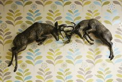 fighting stags wall sculpture in Lakenheath, UK