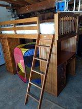 Custom wood bunk bed with desk/shelves/dresser in Yucca Valley, California