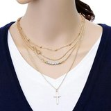 Goldtone 4 Layer Chain Necklace w/Infinity and Cross Pendant in Charlottesville, Virginia