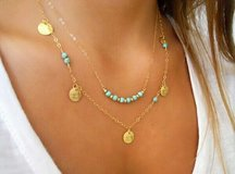 Goldtone Double Chain w/Turquoise and Coin Beads in Charlottesville, Virginia