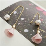 Goldtone Chain w/ Pink ?? Bud and Pearl Earrings in Charlottesville, Virginia