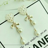 Faux Pearl Heart and Drops w/Goldtone Bow Earrings in Charlottesville, Virginia