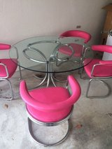 Heavy Glass Table and Pink Chairs in Ramstein, Germany