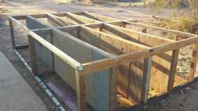 Wood shelves       about 10 foot long, 26 inch deep about 6-8 feet high in Yucca Valley, California
