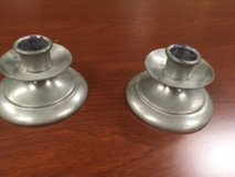 Mayflower Pewter candle holders, some wear in Naperville, Illinois