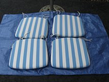 4 Striped Outdoor Cushions,Blue Floral Patio Umbrella,Iron Umbrella Stand in Naperville, Illinois