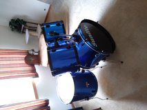 """Drum Set (12"""", 13"""", 16"""" & 22"""" wooden shells with blue wrap) in Morris, Illinois"""