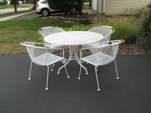 4 Vintage Wrought Iron Chairs & Table Set #2-Woodard?/Meadowcraft? in Lockport, Illinois