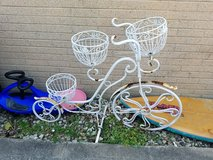 VINTAGE Original white painted 4 foot metal 2 wheel 3 basket bicycle plant stand Needs TLC in Naperville, Illinois