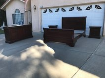 Gorgeous Queen Brown Cherry Sleigh Bedroom Set in Travis AFB, California