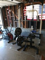 Complete Olympic home gym free delivery 260lbs of plates in Vista, California