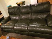 LEATHER COUCH AND RECLINER...Deep hunter green in Aurora, Illinois