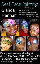 Best face painting in the area in Lawton, Oklahoma